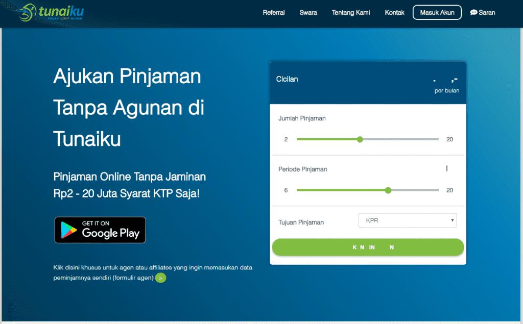 pinjaman kredit online 24 jam cair Tunaiku Indonesia