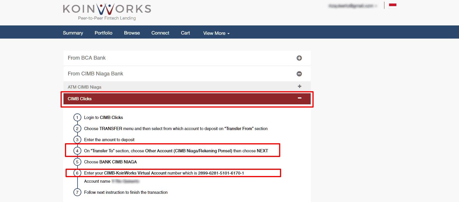 Cara Transfer Dana ke Koinworks