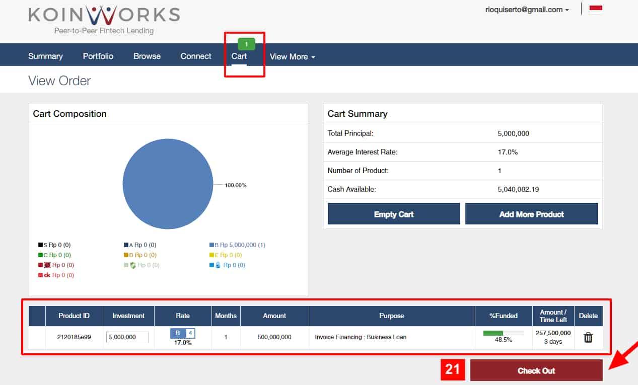 Penempatan Dana Investasi Koinworks