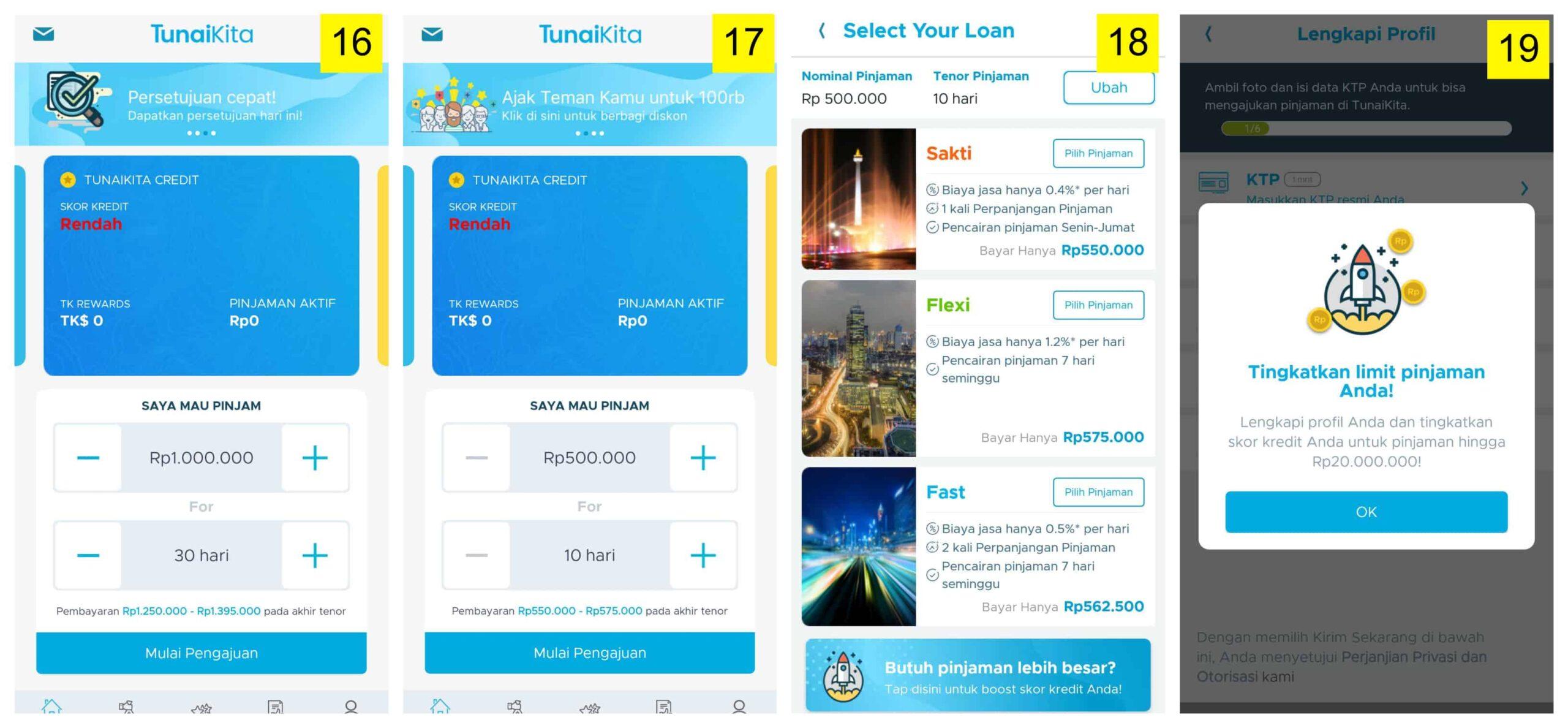 Pilihan Plafon dan Tenor Pinjaman Uang Online TunaiKita