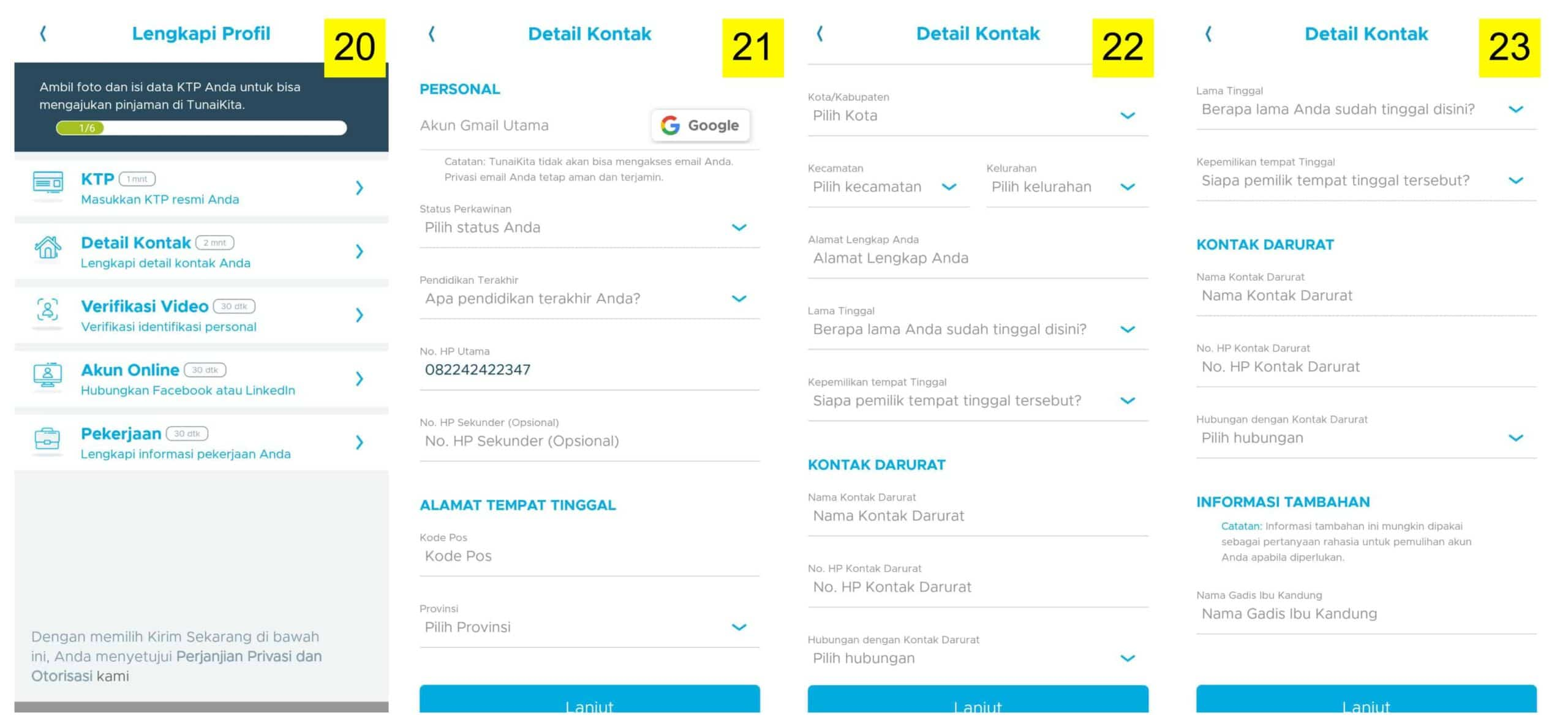 Pengisian Data Pribadi di Aplikasi Pinjaman Tunai Online