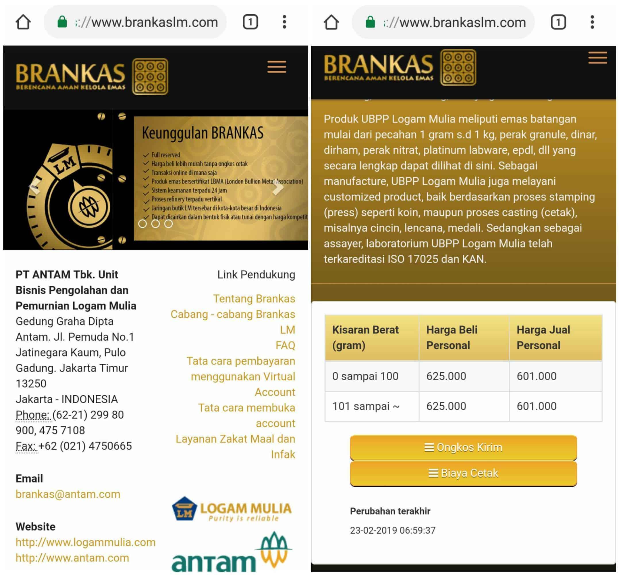 Brankas LM Antam Investasi Emas Online