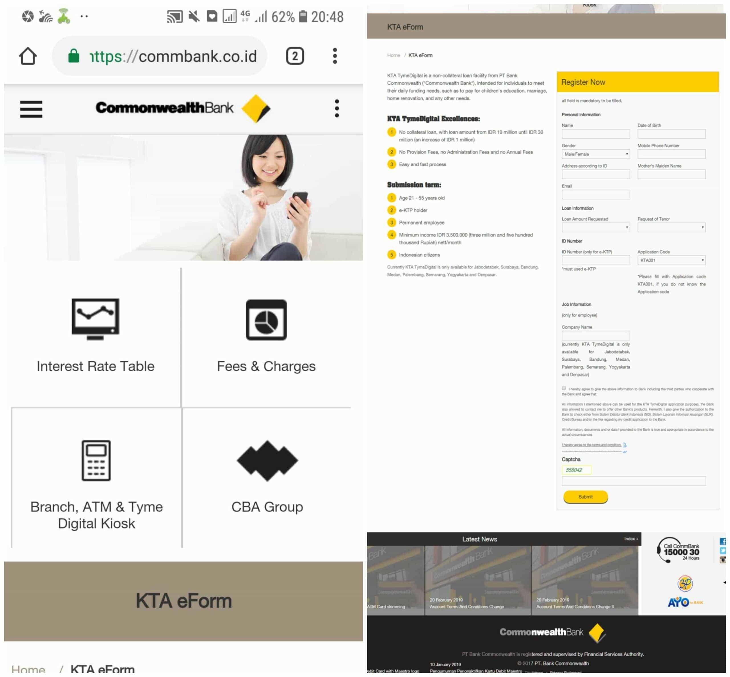 Pinjaman KTA Online Commbank