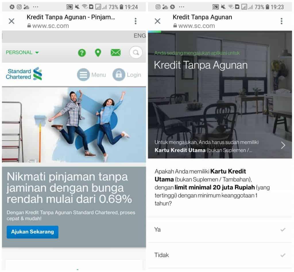 Pinjaman KTA Online Bank SCB Indonesia