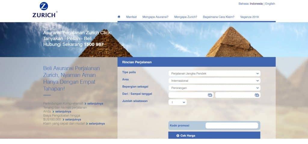 Asuransi Perjalanan Zurich Online