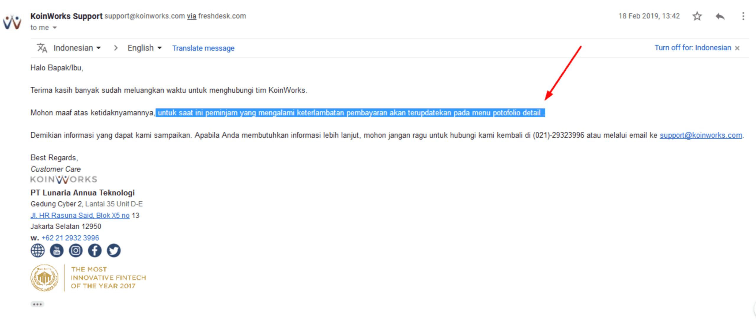 Jawaban Email CS Koinworks Investasi Terlambat