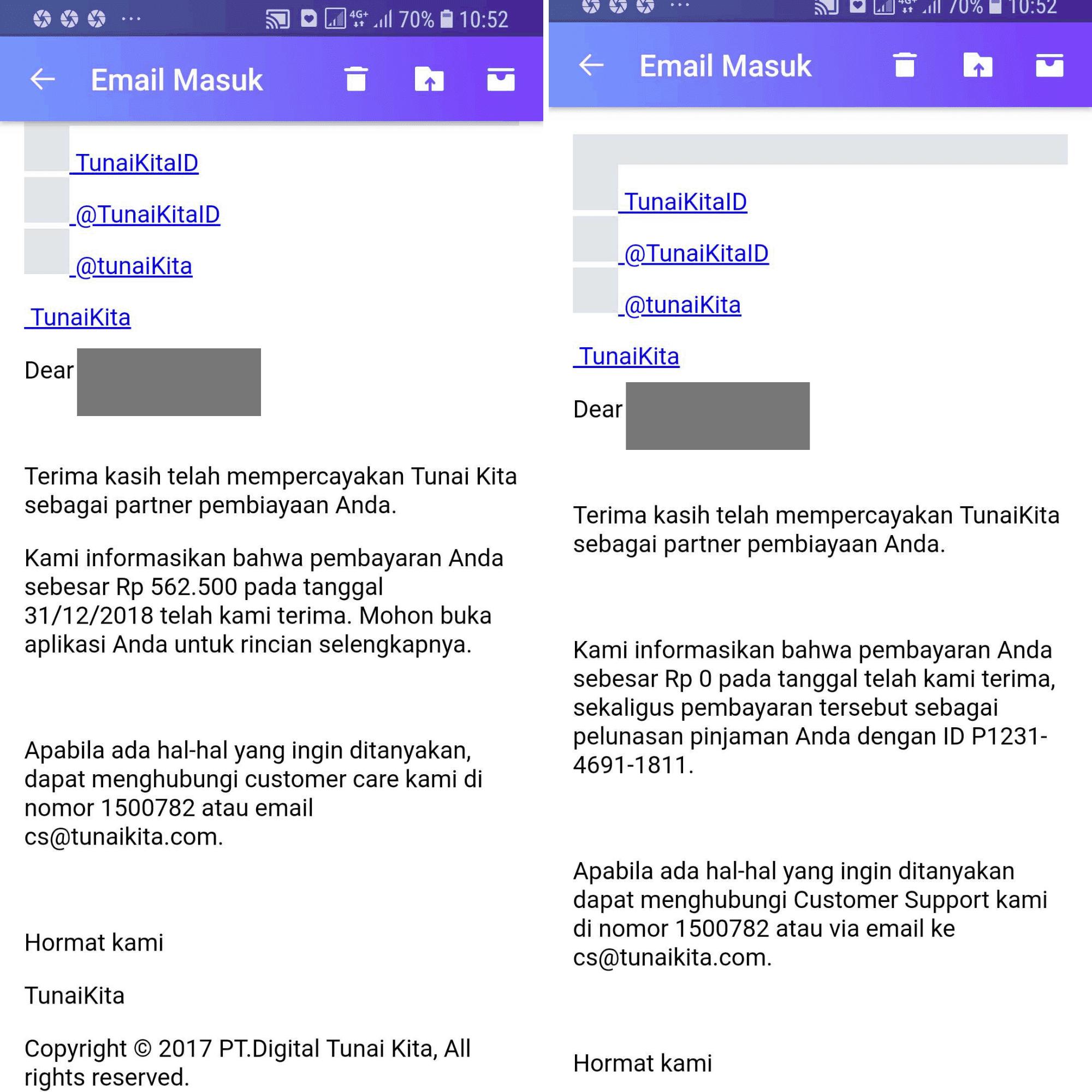 cara bayar TunaiKita, Pembayaran TunaiKita.