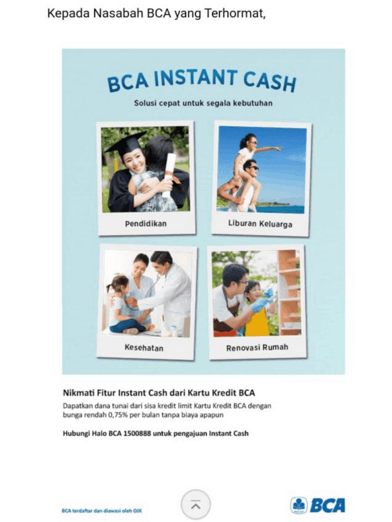 Instant Cash BCA Kartu Kredit. Bunga 0,75%