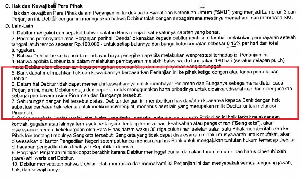 Klausul Kontrak Pinjaman KTA
