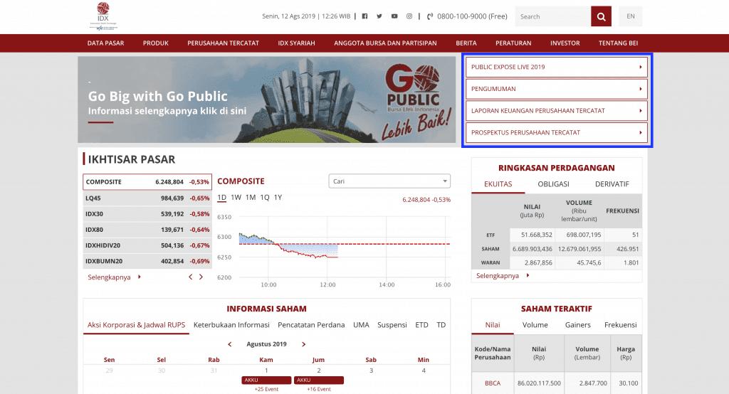 Informasi di Bursa Efek Indonesia