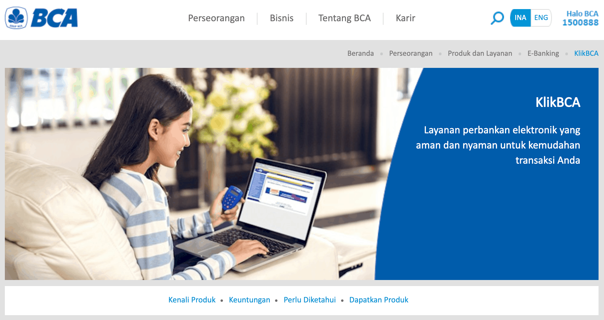 Fitur KlikBCA untuk internet banking