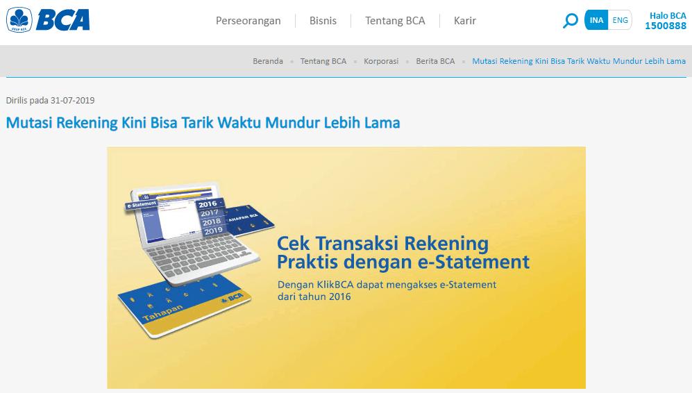 Rekening e-statement BCA
