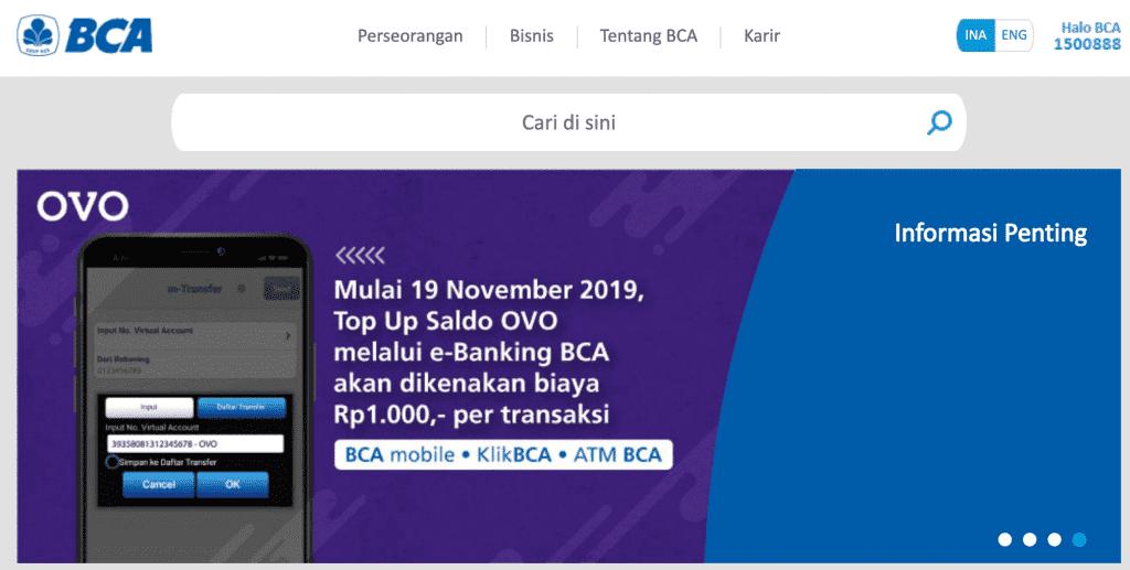 Top Up di BCA Internet Banking