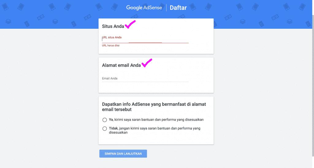 Pendaftaran Google Adsense