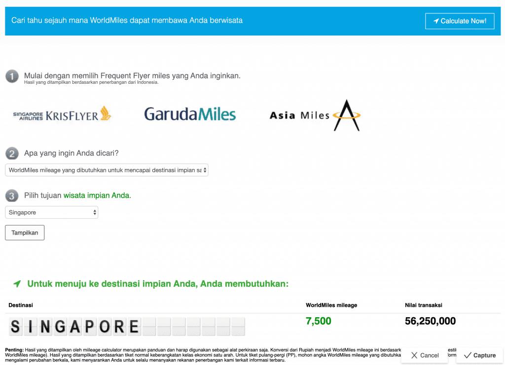 Calculator Miles di Kartu Kredit