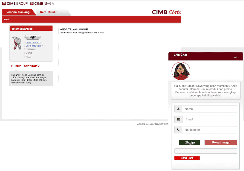 Live Chat Internet Banking