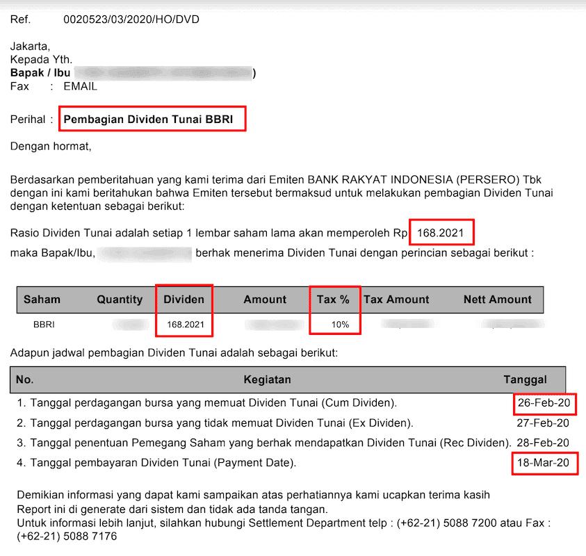 Formulir Pembayaran Dividen BBRI