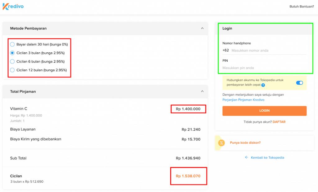 Cicilan Tanpa Kartu Kredit Kredivo di Tokopedia
