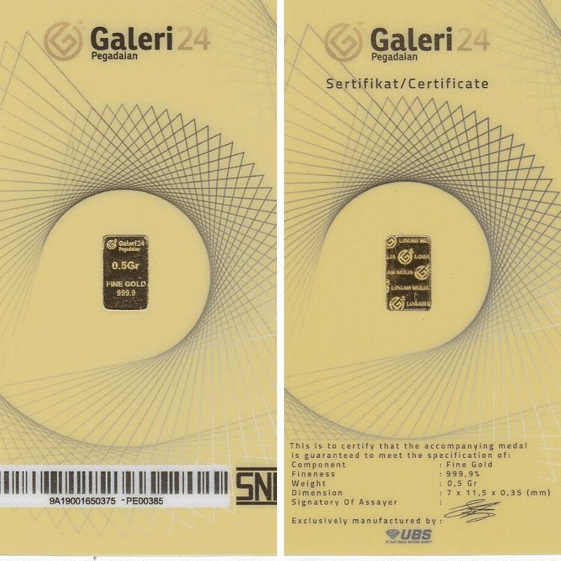Logam Mulia 0,5 Gram dan Sertifikat Asli Galeri 24