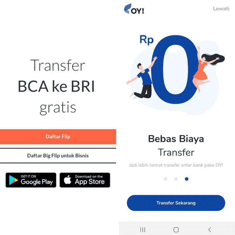 Flip vs OY Indonesia Transfer Uang Gratis
