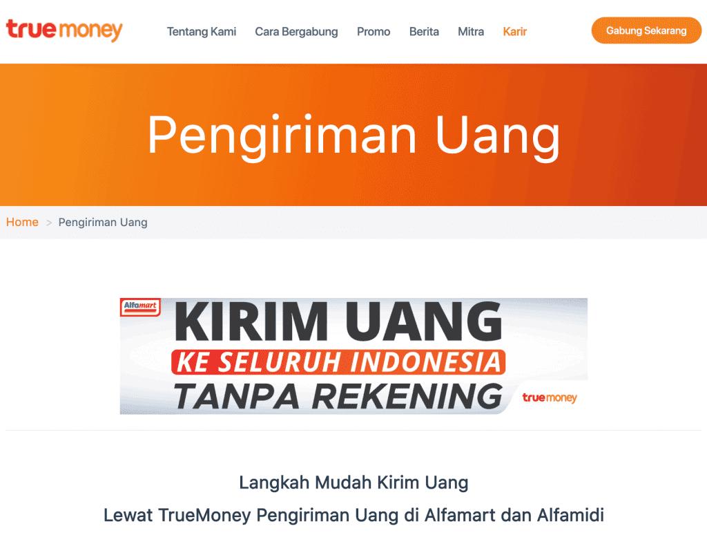 TrueMoney Kirim Uang Transfer Tanpa Rekening Tanpa ATM