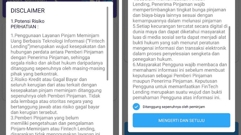 Disclaimer Pinjaman Online