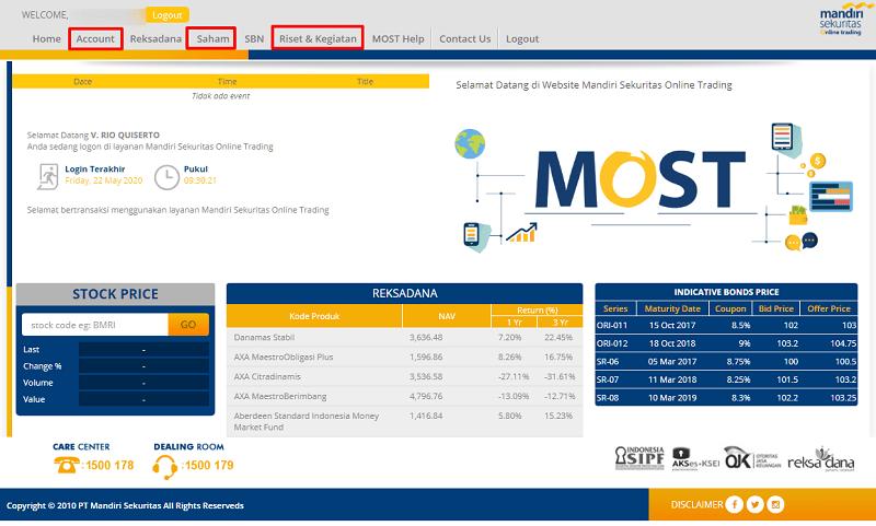 Web Mandiri Sekuritas, Stock PALING Online