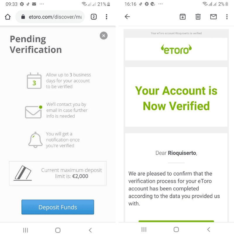 eToro verified