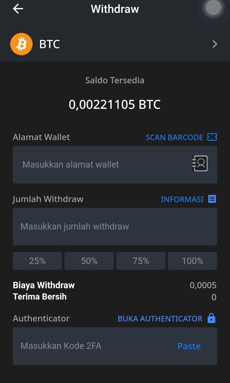 Withdraw Aplikasi Bitcoin Crypto RekeningKu