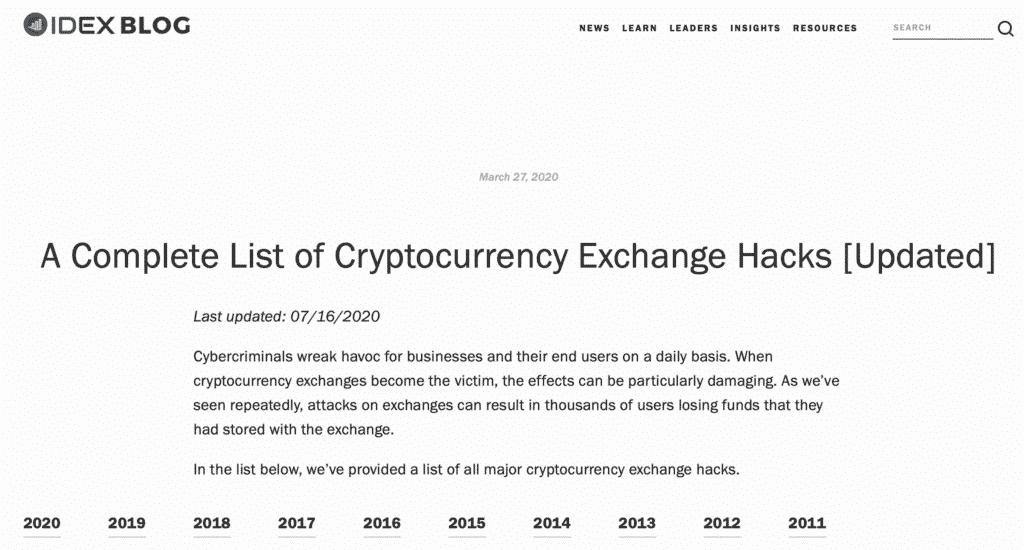 Daftar Kejadian Cryptocurrency Hacks di dunia mulai dari 2011 sd 2020