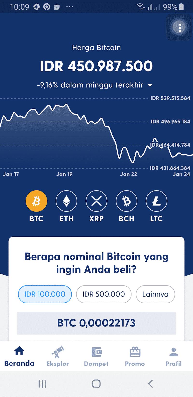 Dashboard Aplikasi Luno Jual Beli Bitcoin Kripto