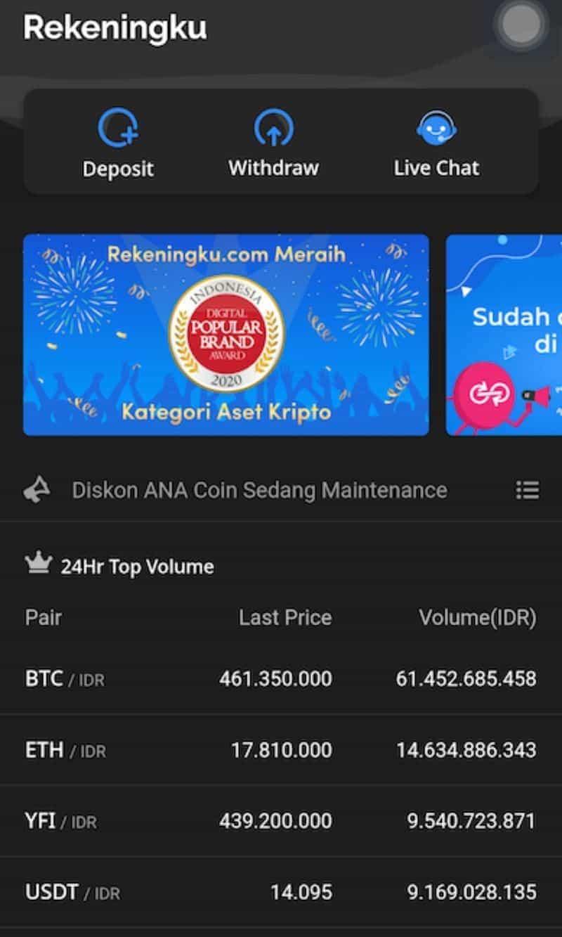 Aplikasi Bitcoin Crypto RekeningKu