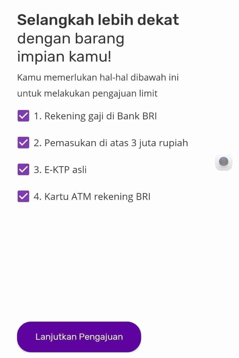 Syarat Aplikasi BRI Ceria Online Pinjaman