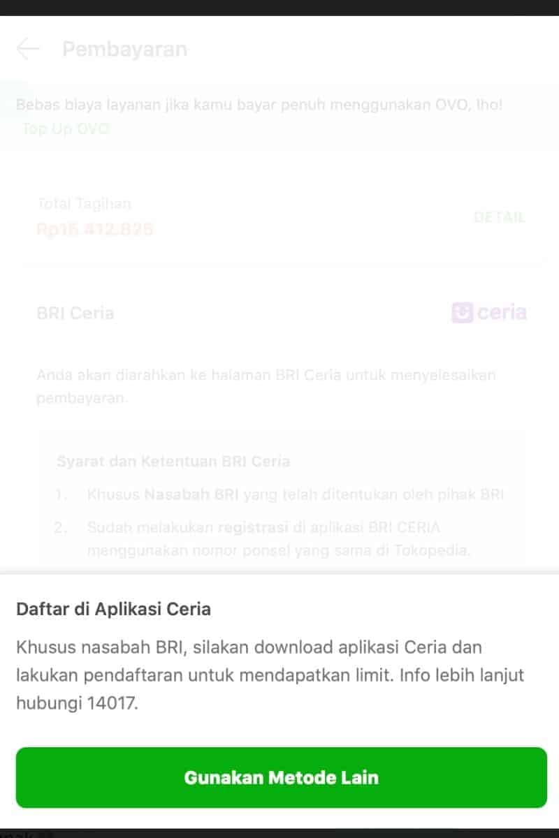 Pengajuan di ecommerce Aplikasi BRI Ceria Online Pinjaman