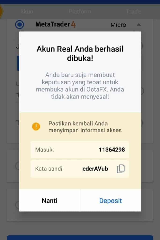 Akun Berhasil Aplikasi OctaFx Broker Forex