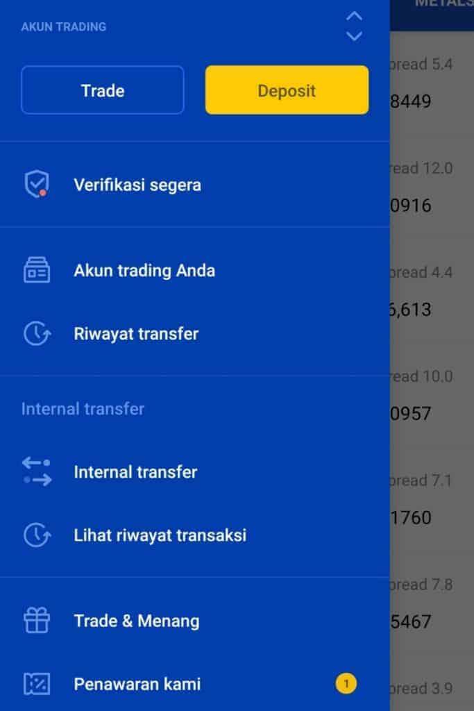 Dashboard Aplikasi OctaFx Broker Forex