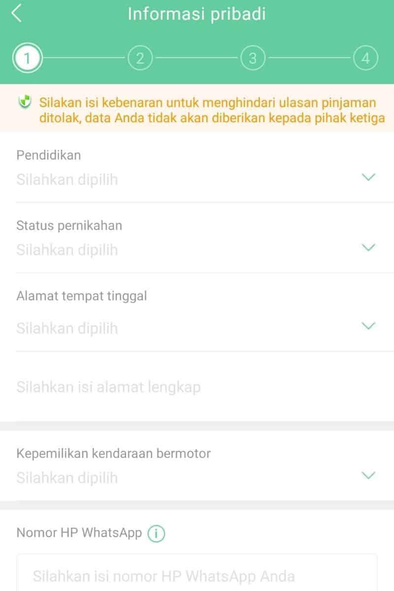 Form Data Pribadi Aplikasi Pinjaman Go