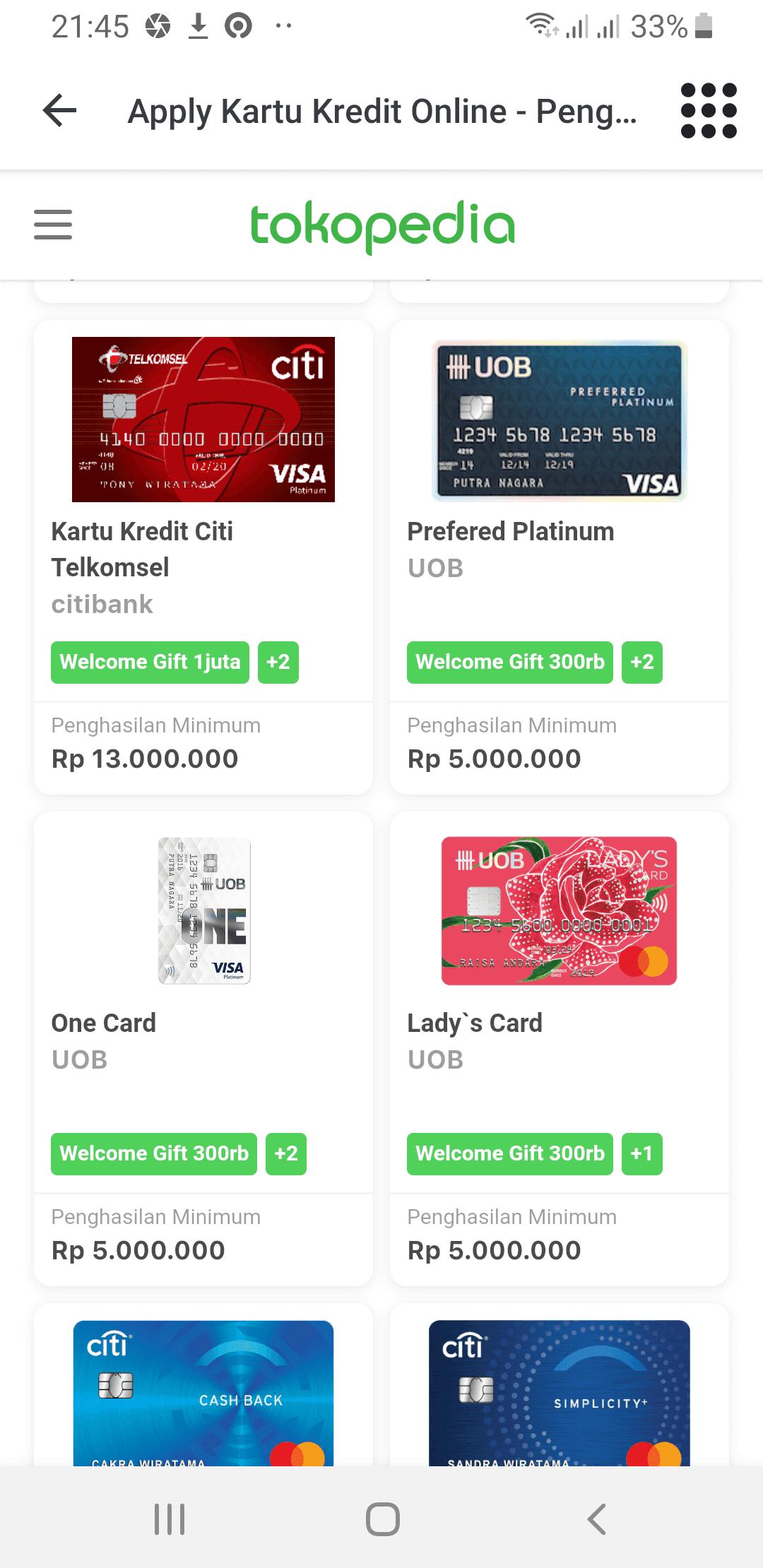Daftar Kartu Kredit Cara Kredit di Tokopedia