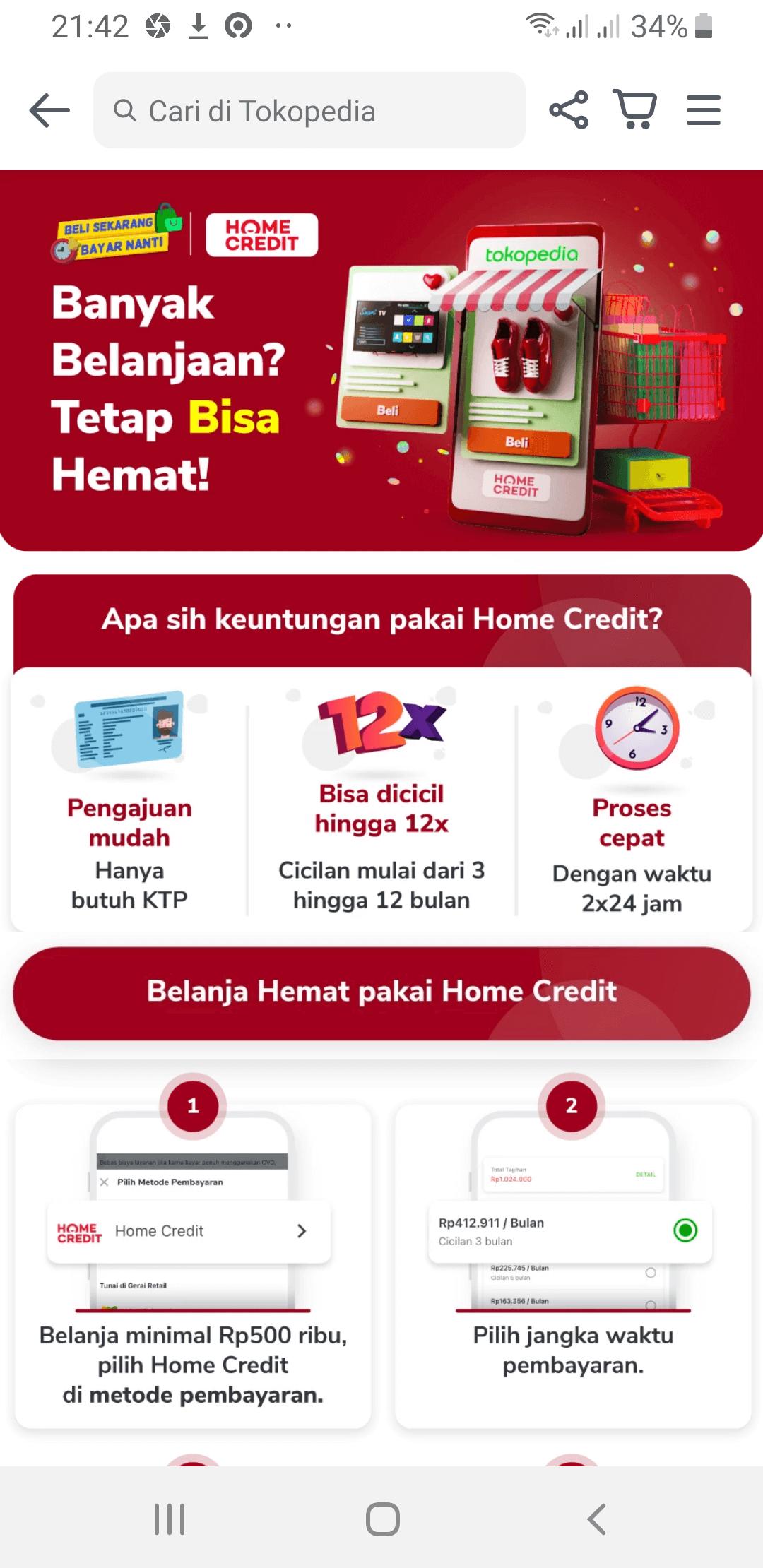 Home Credit Cara Kredit di Tokopedia