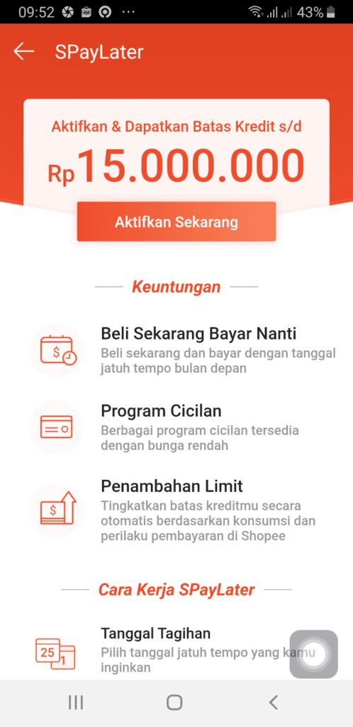 Fitur Pinjaman Aplikasi Shopee Paylater