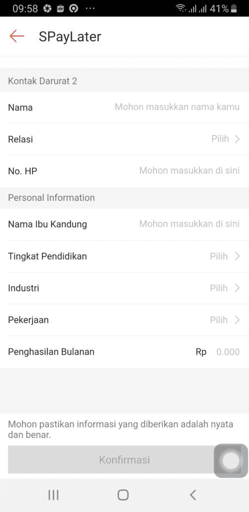 Data Penghasilan Aplikasi Shopee Paylater