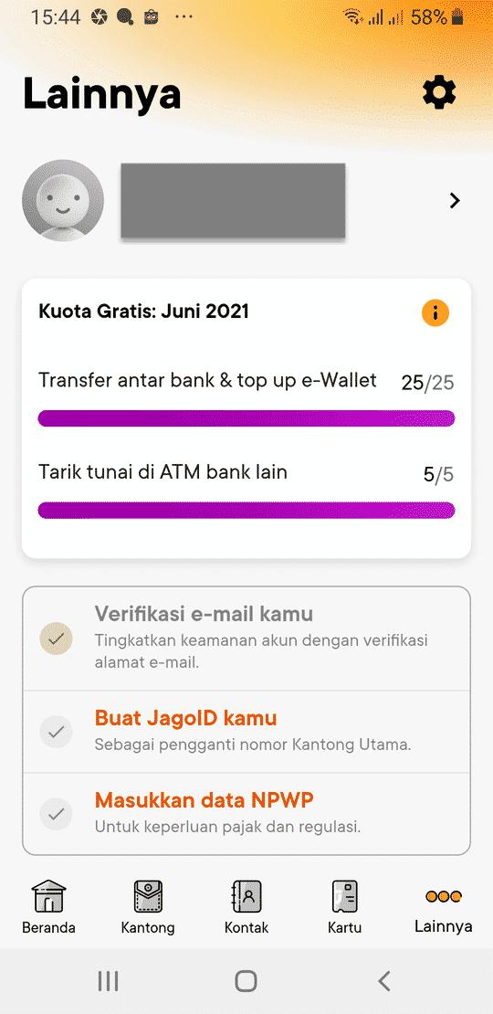 Jago Bank Digital Rekening