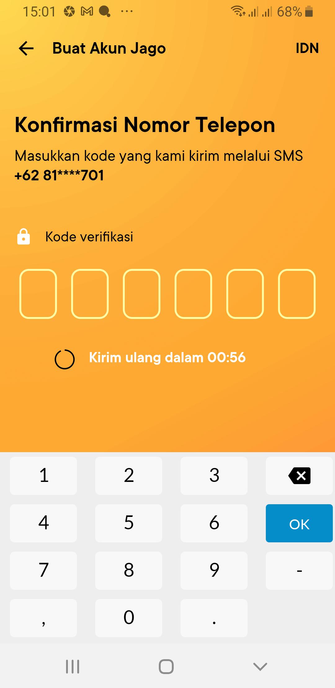 Jago Bank Digital OTP SMS