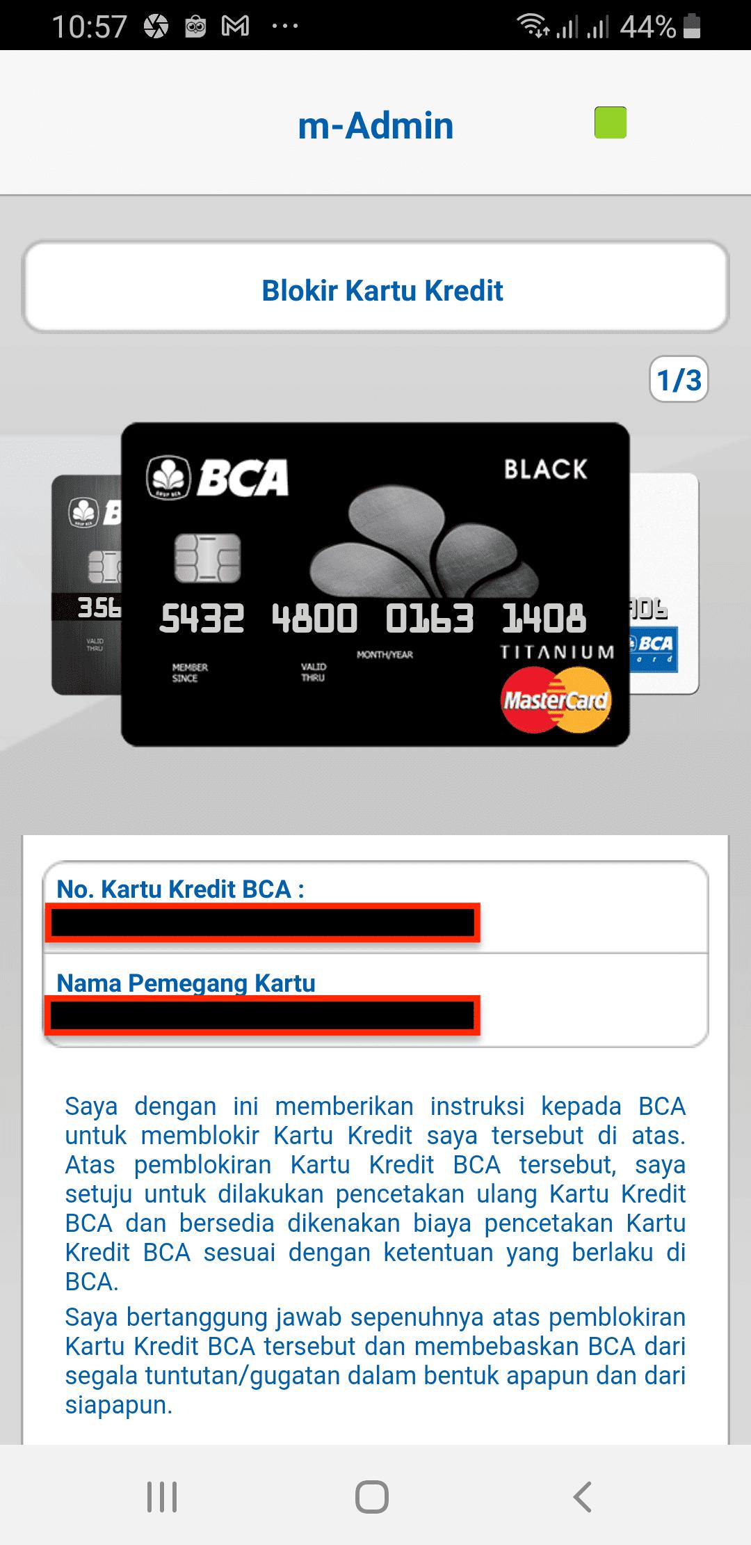 Blokir KK BCA Online