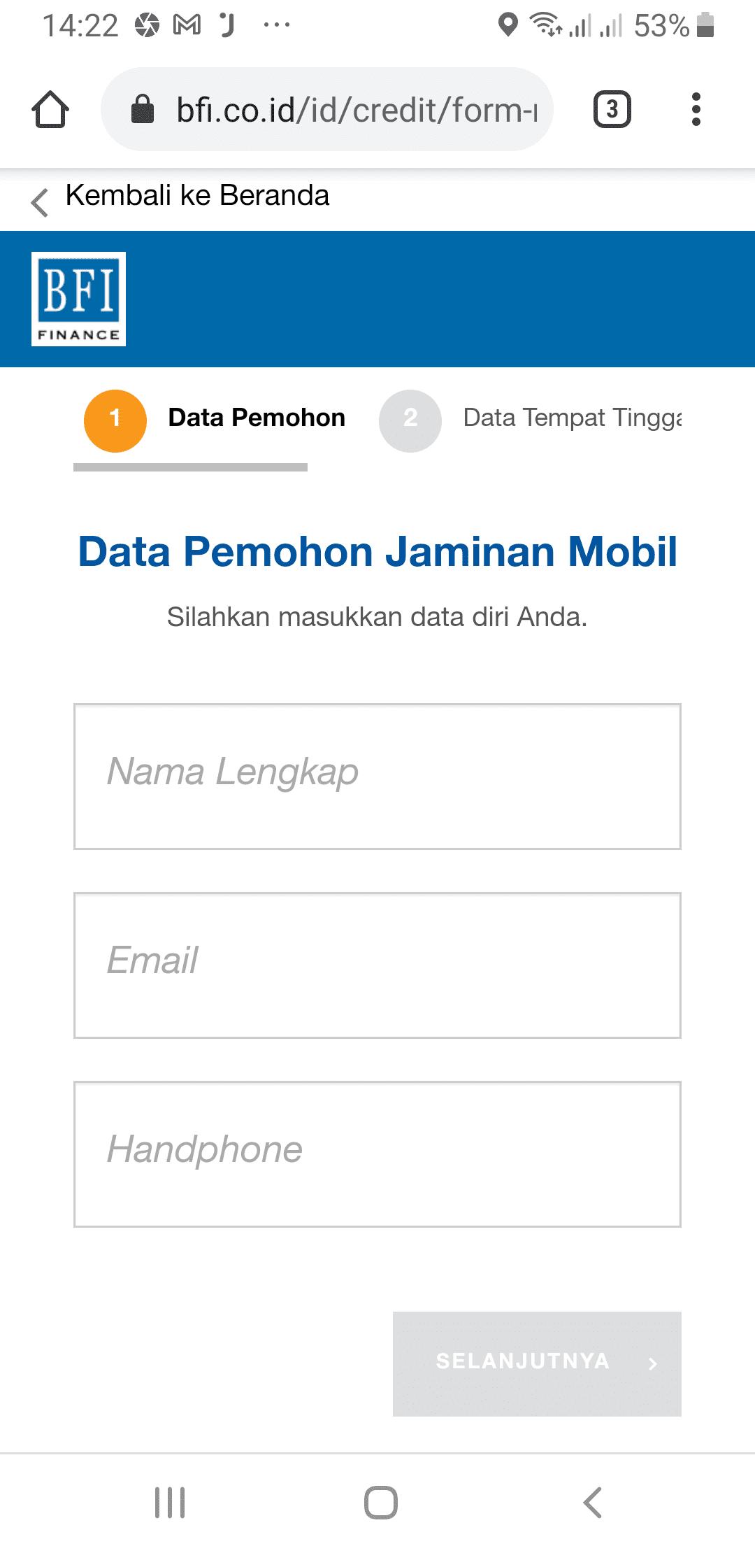 Form data BFI Finance Kredit