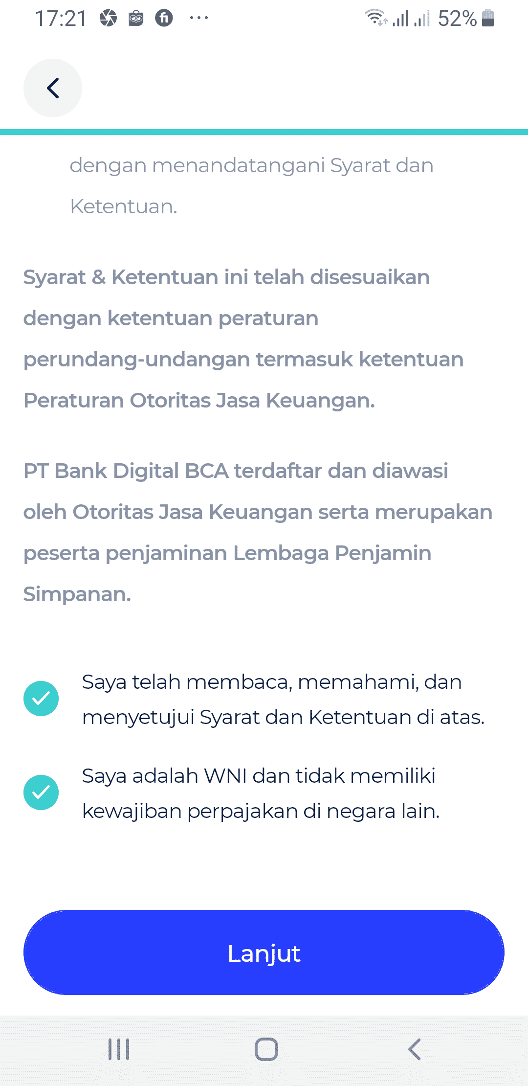 Setuju Perjanjian bLu BCA Digital